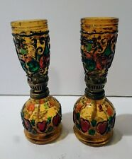 Pair of Sail Boat Vintage Glass Oil Lamp Burner Made in Hong Kong Colourful
