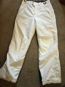 Columbia Snowboarding Snow Pants Youth Size 14/16 White Zipper w/Button