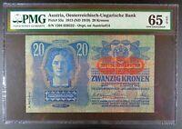 (1919) Austria 20 Kronen Banknote, P-53a, PMG Gem UNC 65 EPQ.