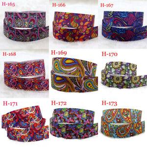 "7/8""2-5-10Yard Paisley Flowers Grosgrain Ribbon DIY Hair Bow Gift Vintage Ribbon"