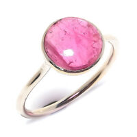 Pink Tourmaline Natural Gemstone Handmade 925 Sterling Silver Ring Size 7