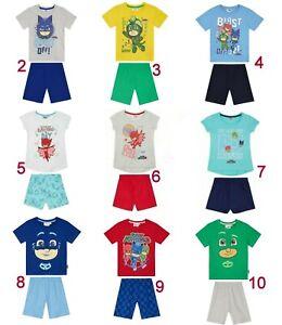 Boys Girls Kids Children PJ Masks Short Pjs Pyjamas T-Shirt Shorts Set Age 3-8