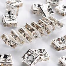 "Brass Rhinestone Beads, Grade ""A"", Square, Nickel Free, White, Silver Metal Colo"