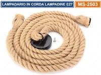 LAMPADARIO IN CORDA DOPPIO CON PORTALAMPADA PER LAMPADINE ATTACCO E27 2 METRI