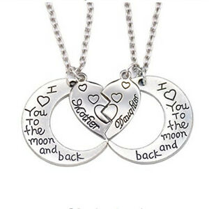 Mum Daughter Necklace I love you to the Moon and Back Mothers Day Gift Present