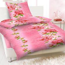 Bettwäsche Renforce 100% Baumwolle 135x200 Kissenbezug 80x80 Blume Rosa  Neu