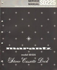 Marantz Service Manual Model SD225 stereo Cassette tape deck player Original