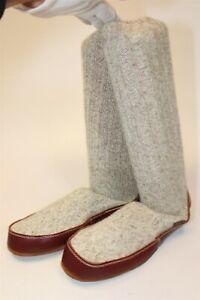Acorn Mens 10.5 11 11.5 Beige Knit Wool Slippers Sock Boots New