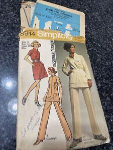 Vintage Simplicity DESIGNER FASHION Dress Tunic & Pants Sz 12 Sewing Pattern