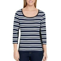 TOMMY HILFIGER NEW Women's 3/4 Sleeve Striped Scoop Neck Casual Shirt Top TEDO