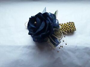 Prom /Wedding navy blue Rose /gold Wrist Corsage/bracelet/sparkle/beads