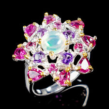 Rainbow SET6x6mm Natural Opal 925 Sterling Silver Ring Size 7/R123068