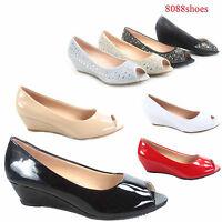 Women's Classic Fashion Open Toe Patent Glitter Low Wedge Pump Shoes Size 5 - 10