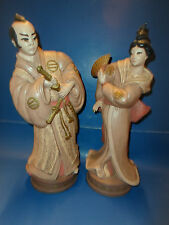 "Asian Japanese Samurai Warrior & Geisha Statue 14"" Tall (SET)"
