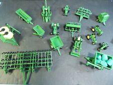 Lot of 17 Ertl Die Cast John Deere Farm Tractors w/ Equipment Implements