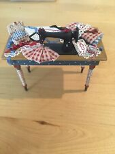 Dollhouse Miniature Sewing Machine Table With Pattern Material Pin Cushion Rare