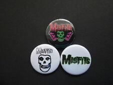 "MISFITS  - X3 -1""  Button Badges  -FREE UK POSTAGE-"