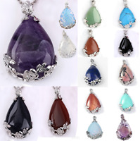 Amethyst Opal Gemstone Teardrop Flower Pendant Reiki Healing Bead For Necklace