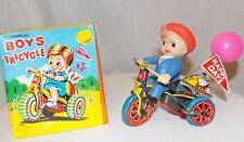 Vintage Boys Mechanical Tricycle With Wind-up Key & Revolving Bell