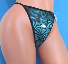 Sexy Nylon Soft Stretch shiny sheer Sissy swirls Thong Bikini Panties M L