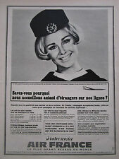 1967 PUB COMPAGNIE AIR FRANCE AIRLINE AIRLINER HOTESSE AIR STEWARDESS FRENCH AD