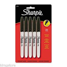 Sharpie, Permanent Marker, Fine Point, Black, 5-Count