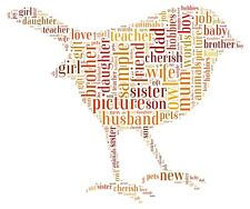 Personalised robin picture. Robin wordart. Robin wordcloud Teacher Leavers gift