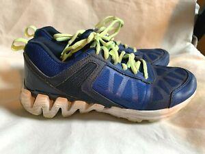 Boy's Reebok Zig Tech Size 5 -Blue & Lime Green Sneaker Shoes - AA