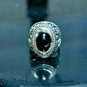CatalinaStamps: Men's Large Silver Ring w/Black Stone, Size 8, Lot F