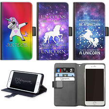 Hairyworm Funny Unicorn PU Leather Wallet Flip Phone Case For Htc Huawei Nokia