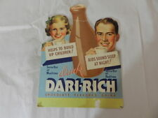 VINTAGE ADVERTISING SIGN-DARI-RICH CHOCOLATE DRINK COUNTER DISPLAY SIGN- DINER