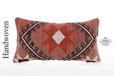 "Designer Embroidered Lumbar Kilim Pillow 10x20"" Turkish Kelim Rug Cushion Cover"