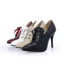 Womens Pointed Shoes Synthetic Leather High Heels Lace Up Pumps AU All Size s942