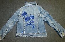Gap Kids Blue Denim Jeans Jacket  XS 4-5 Girls 1969 Embroidered Blue Flowers