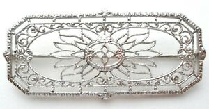 10K White Gold Flower Brooch Open Work Filigree Pin Vintage Cannetille Jewelry K
