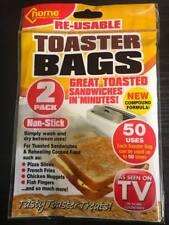2 REUSABLE TOASTER BAGS NON STICK TOASTY TOAST SANDWICH TOASTIE POCKETS BAG NEW