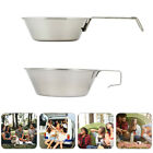 2Pcs Bowls Stainless Steel Backpacking Food Bowl Camping Accessories