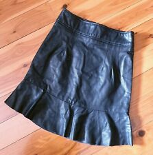 Women's size 6 'BARDOT' Stunning black faux leather fit and flare skirt- AS NEW