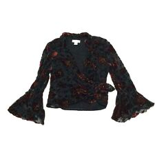 Dress Barn Womens Black Red Floral Bell Sleeve Blouse Top Shirt Large