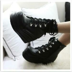 Goth Womens Lace Up High Top Platform Ankle Boots Punk Cosplay Shoes Ankle Boots