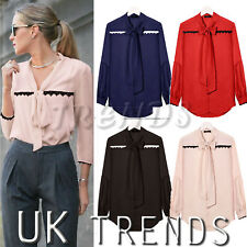 UK Womens Plain Shirt Ladies Lace Up Ribbon Tie Front Shirt Mini Dress Size 6-14
