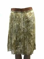 $1085 Dolce & Gabbana Women'S Gold Floral Silk Pleated Flare Skirt Size 2/38