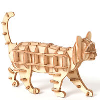 3D Wooden Puzzle Toy Assembly Model DIY Animal Cat Toys for Childre.dr A8A