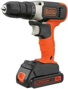 Black + Decker 18V Battery Drill Driver with Accessories Wood Metal Drill