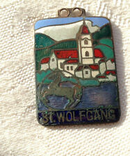 St Wolfgang with Horse Logo Enameled Pendant Metal Antique