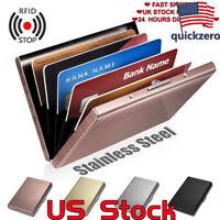 Men Anti-scan Stainless Case Slim RFID Blocking Wallet ID Credit Card Holder US