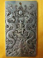 "Old Chinese""Ssangyong longevity "" tibet Silver Bullion thanka amulet"