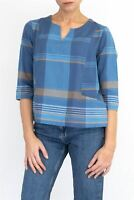 Womens Seasalt Top Ambient Light 3/4 Sleeve Blue Check Ladies Blouse Shirt