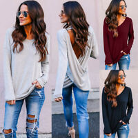 Sexy Womens Solid V-Neck Backless Blouse Long Sleeve Loose Shirt Tops Pullover
