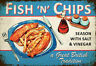 Fish N And Chips Letrero Letrero de Metal Arqueado Metal Tin Sign 20 X 30CM